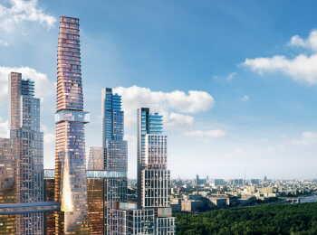 5 зданий разной этажности до 90 этажей